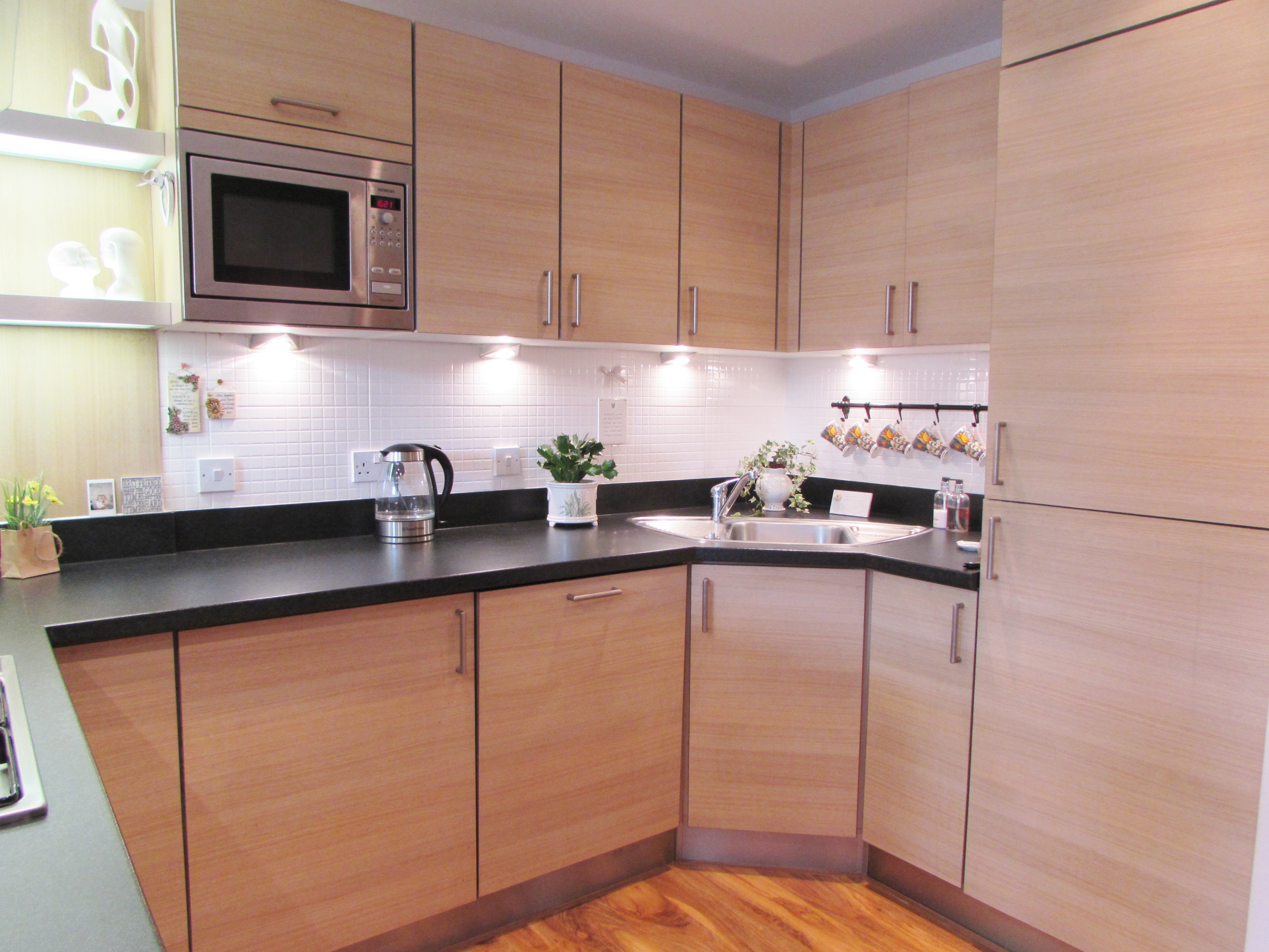 wooden panel kitchen units